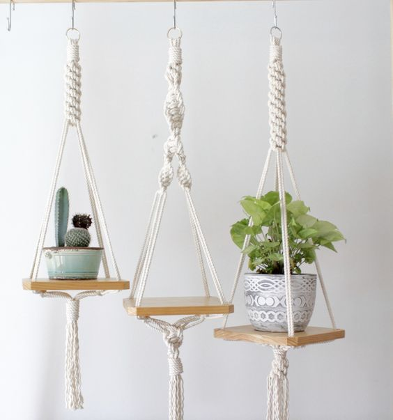 Wood Macrame Shelf: