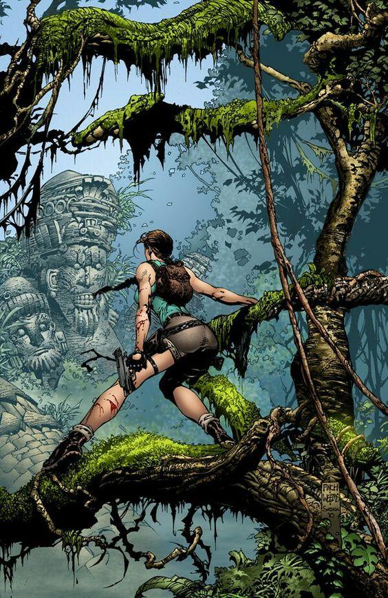 Lara in the Jungle  pencils = david finch inks = joe weems Colors by Sean Ellery