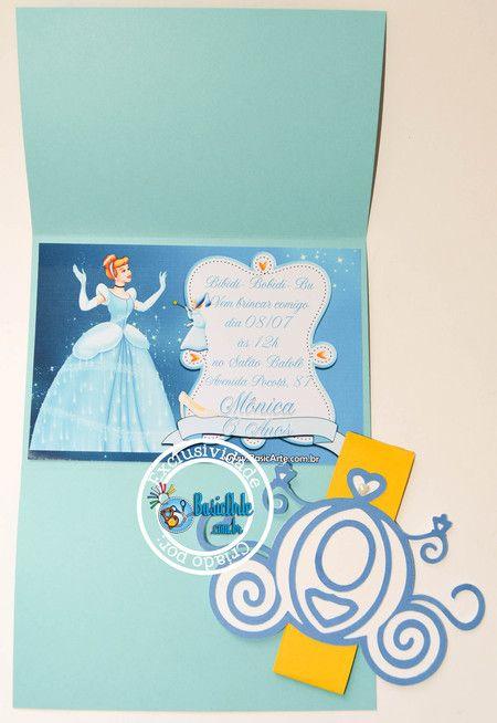 Invitation invite Cinderella  Convites Princesas Cinderela - BasicArte
