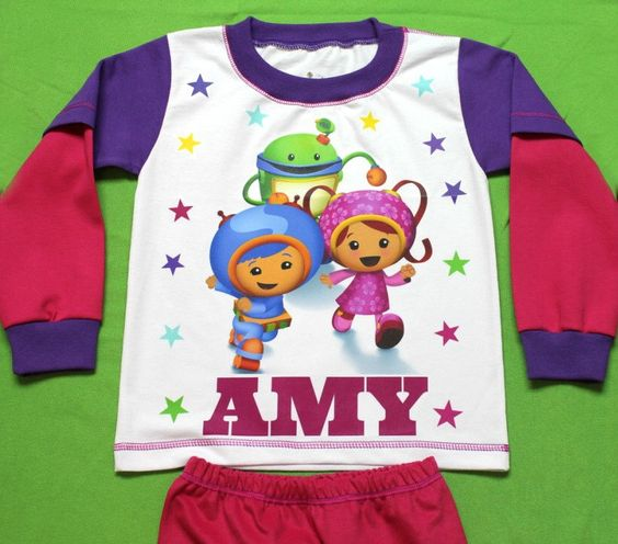 "Team Umizoomi, Girl Pajamas - Personalized PJs Made of 100% Import cotton.Handmade in U.S.A from ""Fantasy Kids"" by FantasyKidsDesigns on Etsy https://www.etsy.com/listing/238390582/team-umizoomi-girl-pajamas-personalized"
