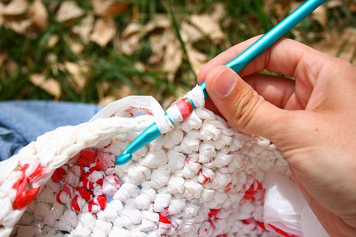 The Organic Sister...Crocheting with plastic grocery bags.