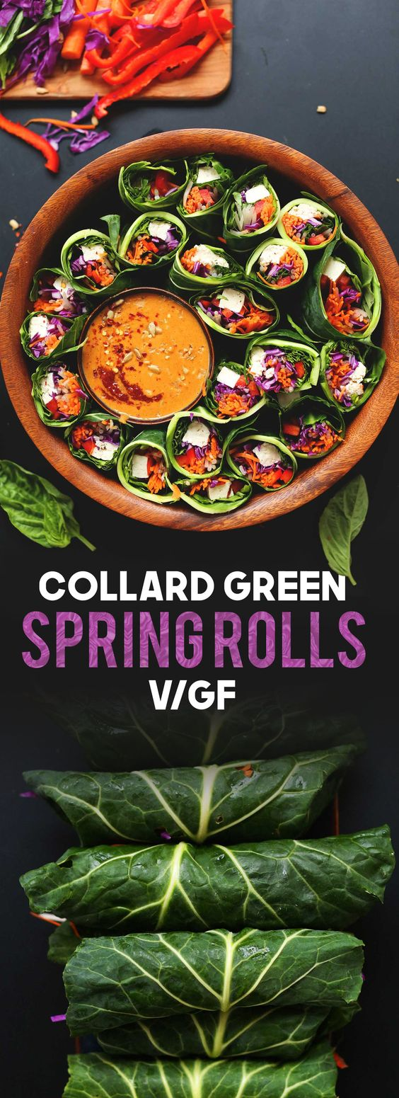 Colorful, healthy collard green spring rolls with veggies, tofu, and a sunbutter dipping sauce. A 30-minute, satisfying, plant-based side or snack!