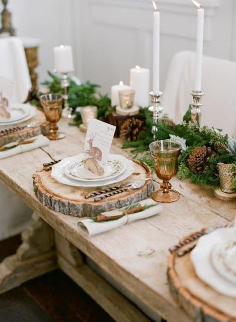 Weihnachten Die Top 10 Der Deko Ideen Fur Deinen Tisch Tischdekoration Hochzeit Baumstammscheiben Tischdekoration