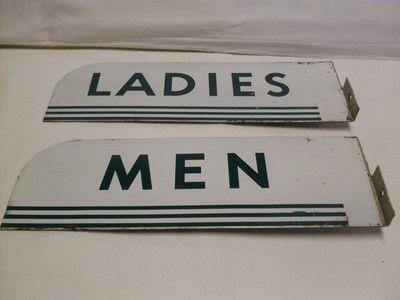 Vintage Gas Station Restroom Signs Ladies Men Enamel