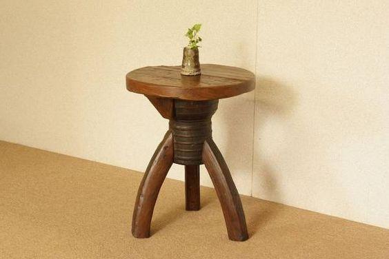 Chair 『癒し』アンティーク オールドチーク古木 脚車輪円形丸椅子 インテリア 雑貨 家具 Antique ¥12900yen 〆05月18日