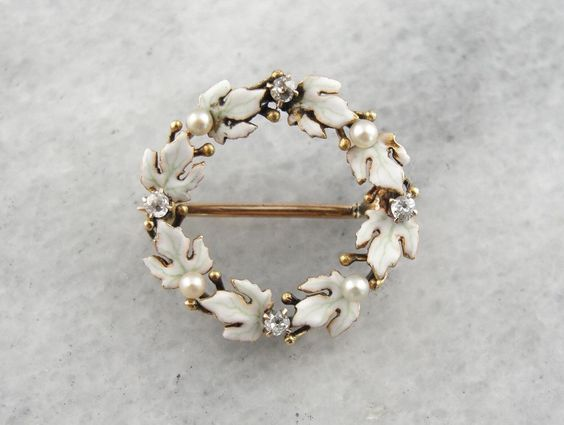 Winter Bride: Antique Enamel, Pearl and Diamond Laurel Wreath Brooch 010K0A-N by MSJewelers on Etsy https://www.etsy.com/listing/479870059/winter-bride-antique-enamel-pearl-and