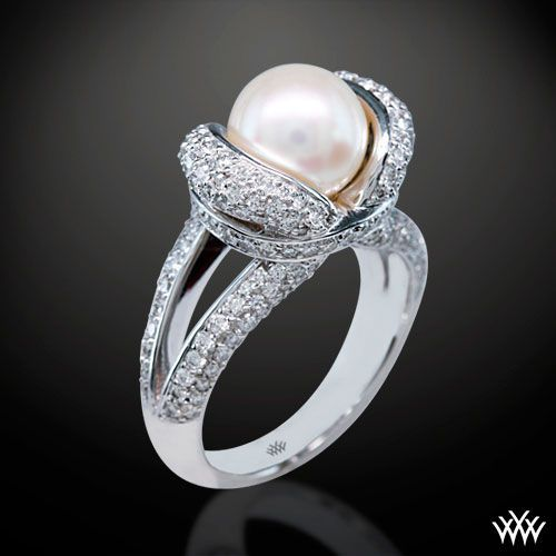 Never Would Have Thought A Pearl Engagement Ring Could Look This Good Pearl Wedding Ring Pearl And Diamond Ring Pearl Engagement Ring