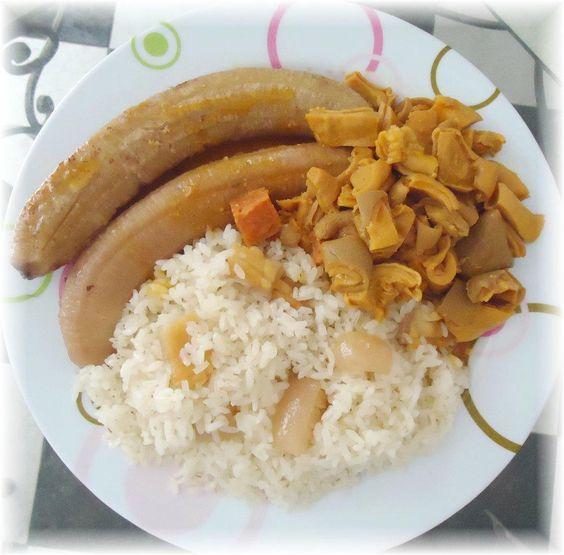 Cuajito guineos y arroz blanco con tocino comida - Comidas con arroz blanco ...