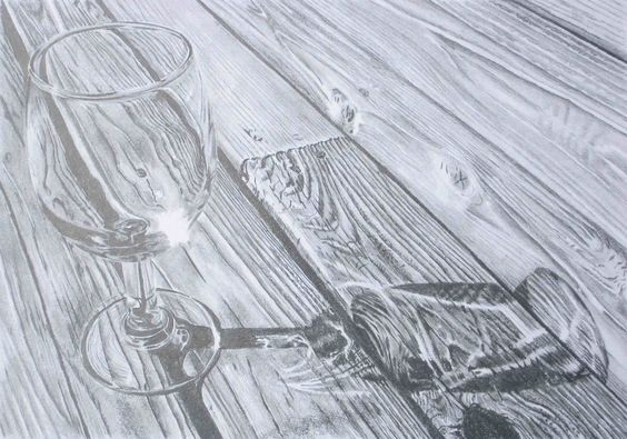 Pencil Drawing -- wine glass with woodgrain | Drawing ...