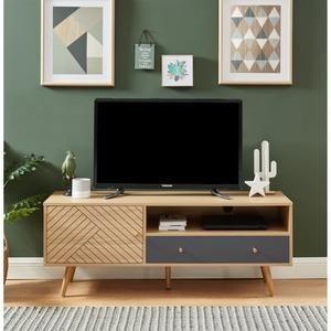etnik meuble tv 1 porte 1 tiroir gris
