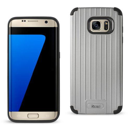 Reiko Samsung S7 Edge Brushed Metal Texture Hybrid Case Black Gray