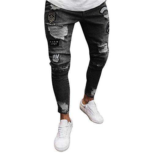 Electri Homme Jeans Skinny Badge Trou Vintage Pantalons Slim