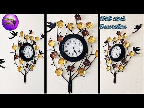 Wall Clock Decoration Wall Hanging Decoration Wall Decoration Ideas Craft Work Fashion Pixies Youtube Wall Clock Craft Clock Craft Clock Wall Decor