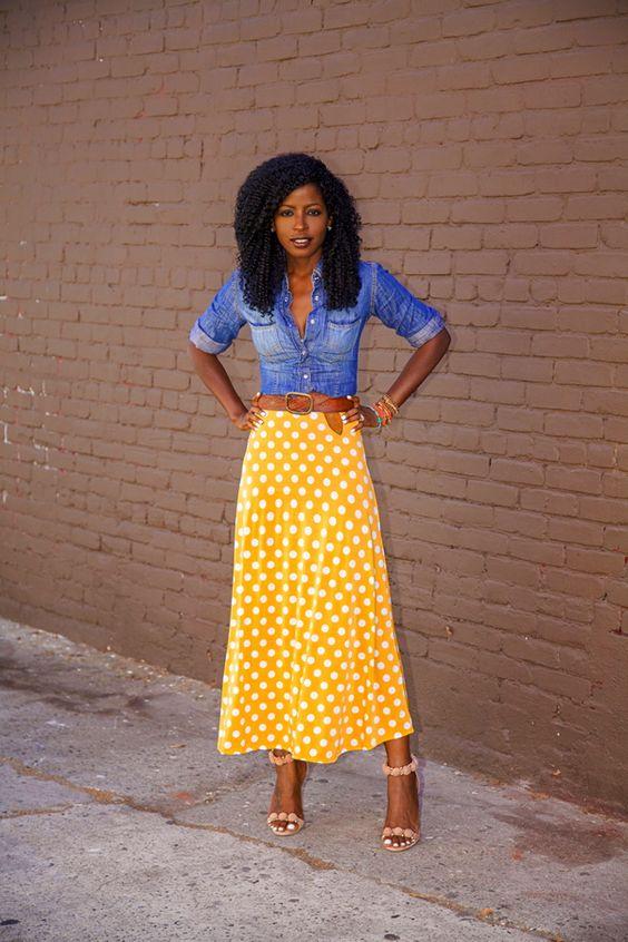 Fitted Denim Shirt + Dotted Tea Length Skirt