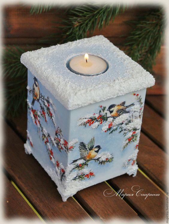 """Купить Подсвечник шкатулка """"Сказки зимнего леса"""" - подсвечник, для интерьера, подсвечник декупаж, подарок на рождество:"""