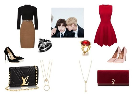 """""""vkook"""" by angelatae on Polyvore featuring Topshop, Alexander McQueen, Louise et Cie, Phase Eight, Kate Spade, EF Collection, bts, bangtan and vkook"""