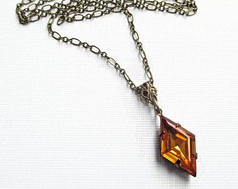 Art Deco Necklace - Golden Topaz Rhinestone Necklace - Downton Abbey Jewelry - Great Gatsby - HARLEQUIN Golden Topaz
