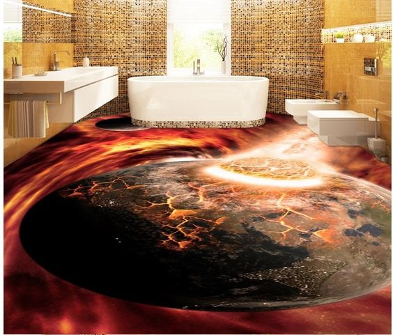 3D floor murals for bathroom flooring with epoxy painting Awesome collection of 3D floor murals, painting, design images with self-leveling 3D epoxy flooring for all rooms, 3D bathroom floor murals, and other designs for living rooms, bedrooms and kitchens
