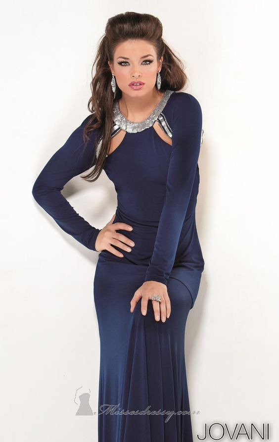 jovni dress blue navy long sleeves