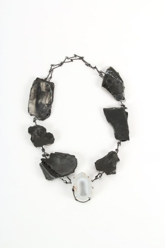 Sharareh Aghaei -  Untitled – Necklace – slate rock, Angelite, resin, silver, iron – 350 x 200 x 30 mm – 2014 – Photo by Sharareh Aghaei: