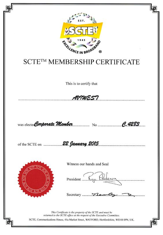 AVIWEST is now a corporate member of the SCTE society !