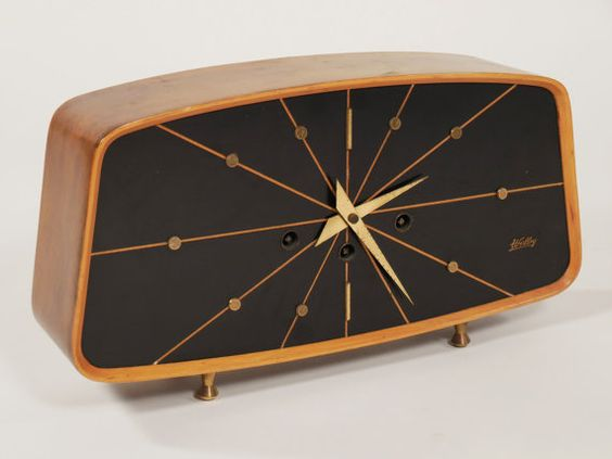 mid century modern welby mantle clock on hold mid century modern mantle clock and mantles. Black Bedroom Furniture Sets. Home Design Ideas