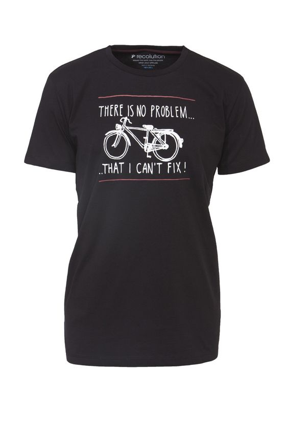 recolution organic fair trade Shirt Männer schwarz #NO PROBLEM bicycle riding repair
