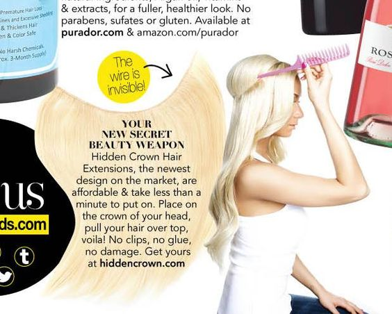 """As see in InStyle Magazine JUNE 2015 issue Hidden Crown Hair Extensions """"YOUR NEW SECRET BEAUTY WEAPON"""" Buy yours now online at http://www.hiddencrown.com"""