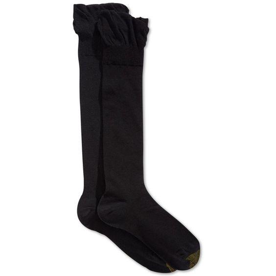 Gold Toe Solid Knee-High Socks 2-Pack ($14) ❤ liked on Polyvore featuring intimates, hosiery, socks, socks and tights, black, knee high socks, gold toe socks, gold toe, knee socks and knee hi socks