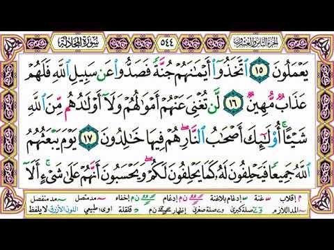 القرآن الكريم مقسم صفحات الشيخ حاتم فريد سورة المجادلة صفحة 544 مكتوبة مصحف التجويد الملون Arabic Calligraphy