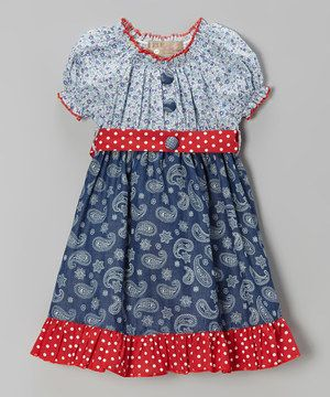 Lele Vintage Blue & Red Paisley & Polka Dot Dress - Toddler & Girls by Lele Vintage #zulily #zulilyfinds