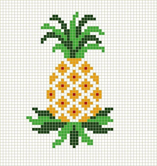 Ananas Borduurpatroon Pineapple Borduurpatronen