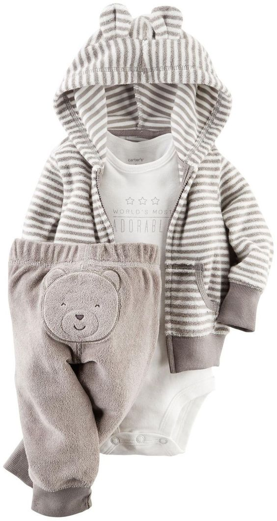 Amazon.com: Carter's Baby Boys' 3 Piece Terry Cardigan Set (Baby): Clothing