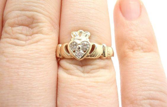 claddagh 14k yellow gold 0.18ctw 3 diamond heart ring by ShopLucky