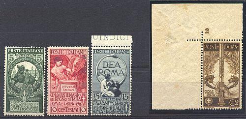 Unità d'Italia 4 val. cpl. (S.14) di qualità lusso per centratura (un es. angolo di foglio numerato).