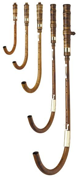 Crumhorns, early music instruments. The crumhorn is a musical instrument of the woodwind family, most commonly used during the Renaissance period. In modern times, there has been a revival of interest in Early Music, and crumhorns are being played again.Because of the limited range, music for crumhorns is usually played by a group of instruments of different sizes and hence at different pitches.