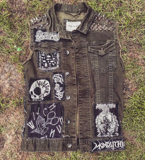 Studded crusty denim jacket