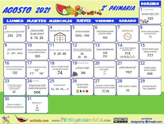Calendario Segundo ABN – Agosto 2021