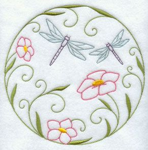 A quick stitch circle machine embroidery design with dragonflies and flowers.