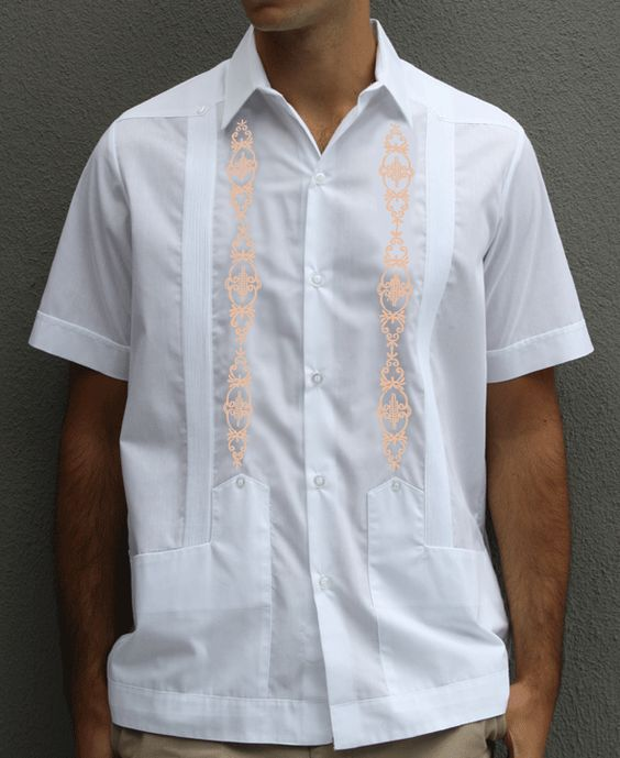 D'Accord Short Sleeve Poly Cotton White and Peach Mexican Guayabera Wedding Shirt