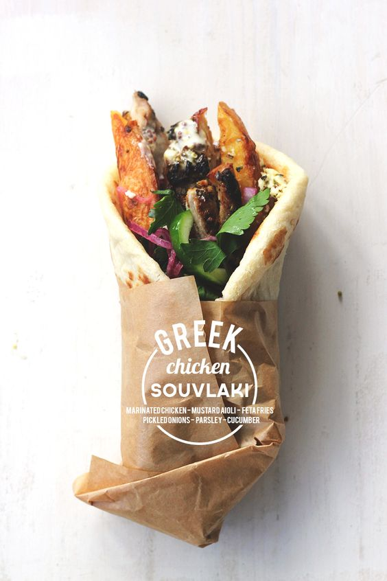 greek chicken souvlaki-on the run at work?  get one of these for your hunger pangs