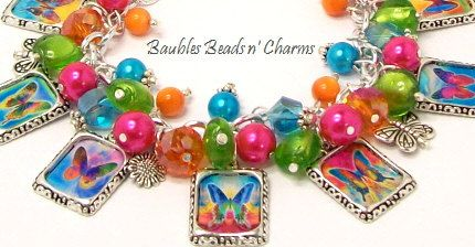 Butterfly Butterflies Charm Bracelet by baublesbeadsncharms, $39.88