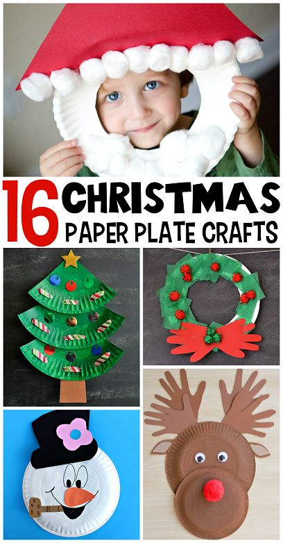 Christmas paper plate crafts for kids to make.  Great collection of easy Christmas crafts for young children, Santa, Snowman, Reindeer, Christmas trees and more, all made from paper plates. - Happy Hooligans: