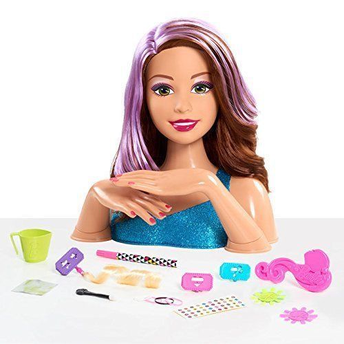 Details About Barbie Flip And Reveal Deluxe Styling Head Hair Surprise Brunette To Purple New Head Hair Natural Hair Styles Barbie Hair