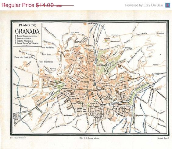 Granada Vintage City Plan Street Map 1920s Spain.