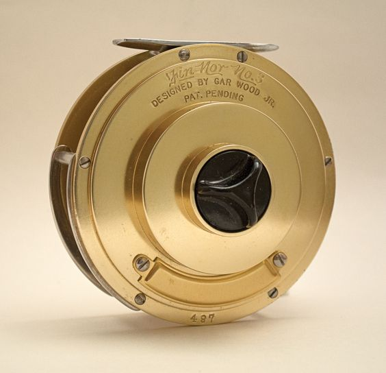 Fin-Nor's Wedding Cake reel, designed by Gar Wood, was one of the first fly reels specifically created to handle the rigors of catching large saltwater fish. It was also one of the earliest to feature truly effective drag and excellent corrosion resistance.: Reel Designed, Wedding Cakes, Cake Reel