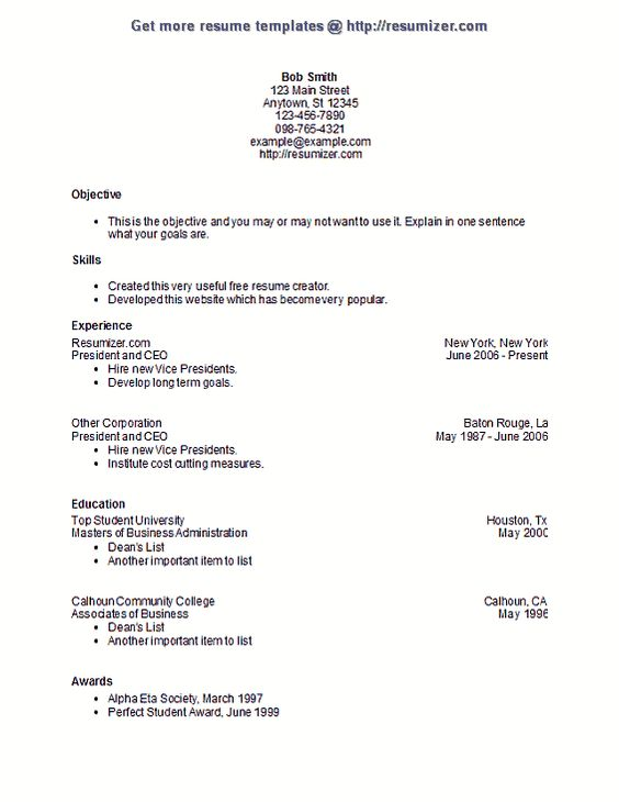resumizer resume template style 6 resume templates pinterest resume creator for students - Resume Creator