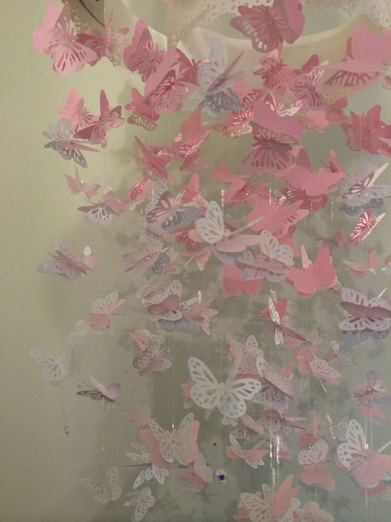 Paper Lace Chandelier Monarch Butterfly Mobile by DragonOnTheFly