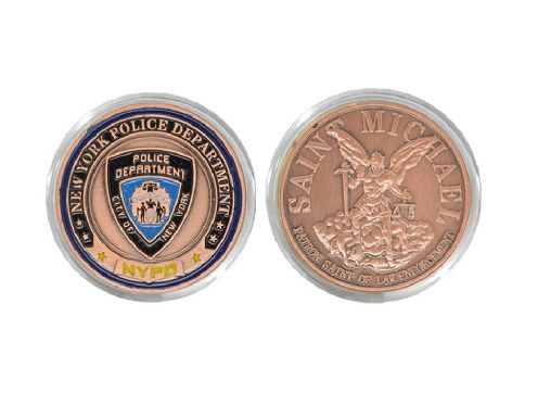 USA New York Department Police Coin Saint Michael Bronze Token Collectible With Round Box