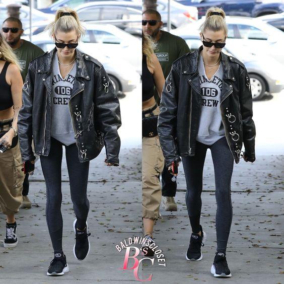 Oversized leather jacket hailey Bieber | Oversized jacket outfit
